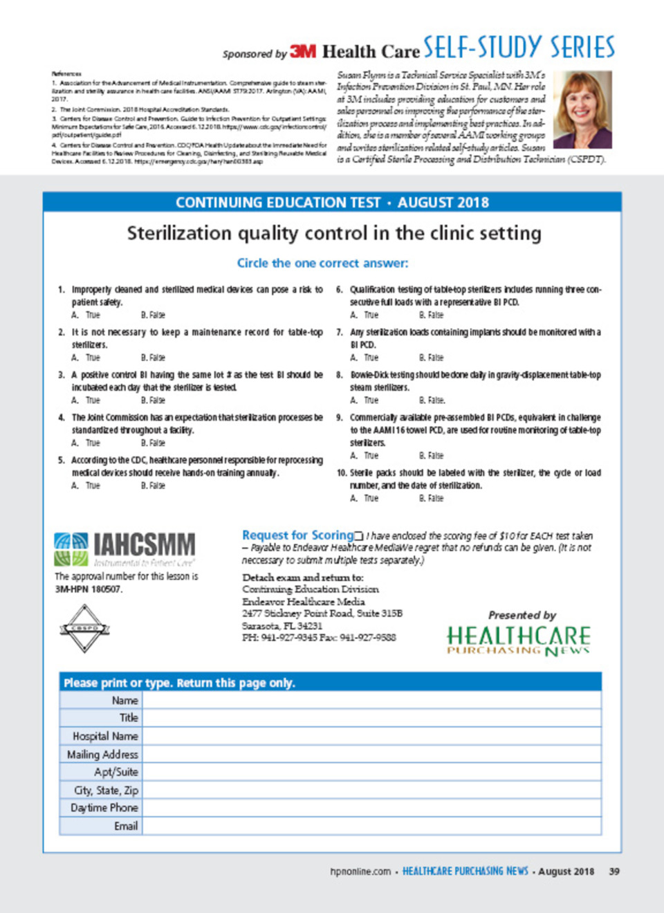 Sterilization quality control in the clinic setting